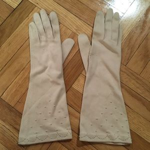 Vintage Long Beige Embroidered Evening Gloves